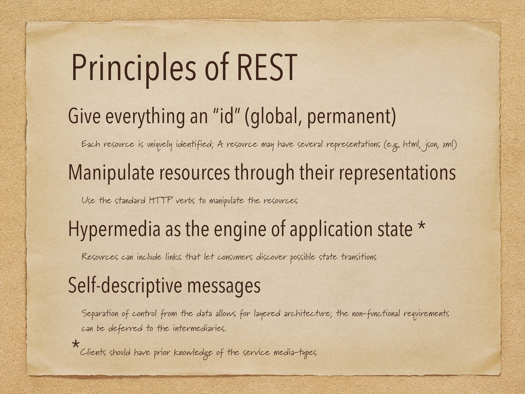 """Principles of REST Give everything an """"id"""" (glo..."""