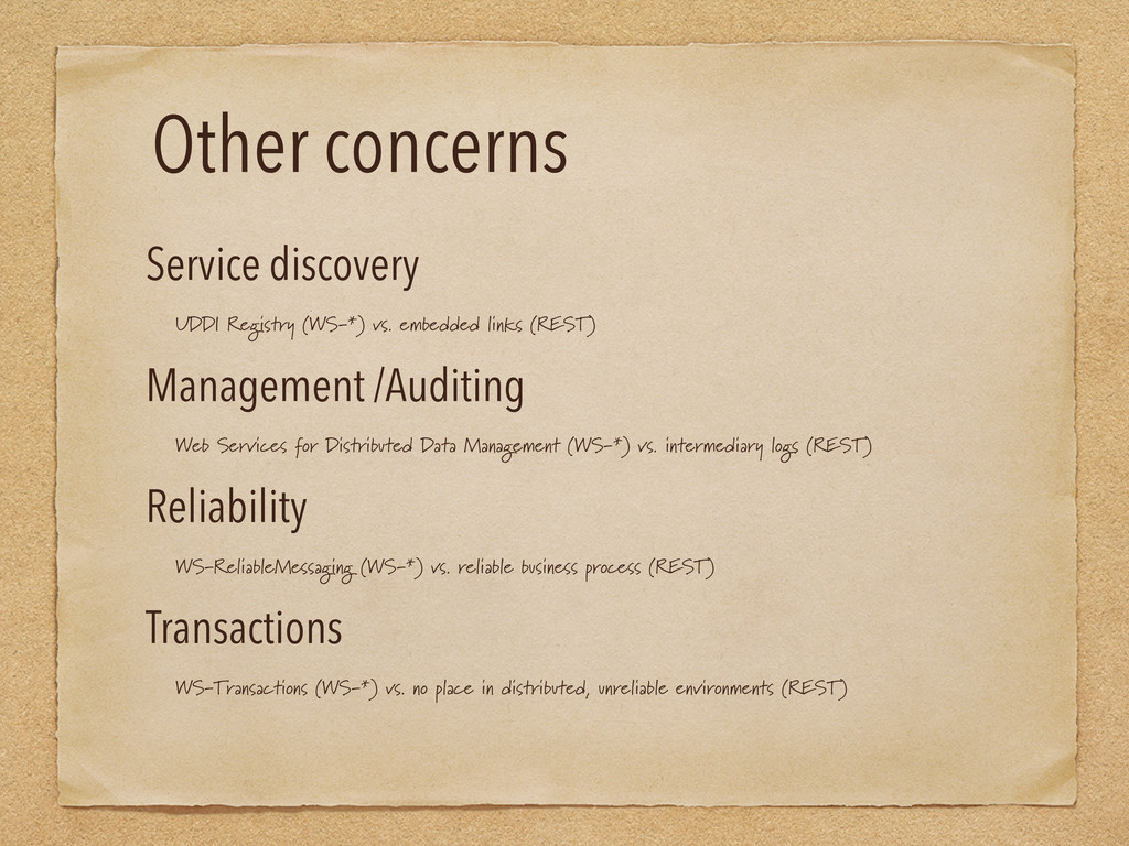 Other concerns Service discovery UDDI Registry ...