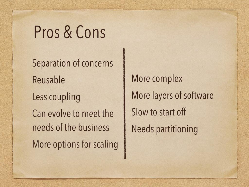 Pros & Cons Separation of concerns Reusable Les...