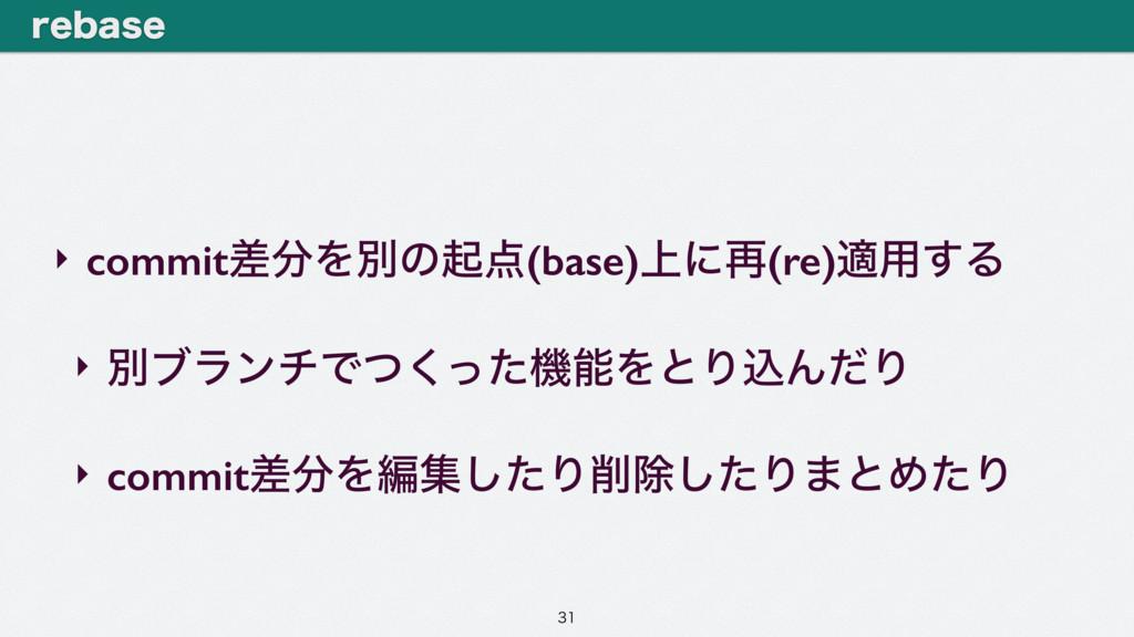 ‣ commitࠩΛผͷى(base)্ʹ࠶(re)ద༻͢Δ ‣ ผϒϥϯνͰͭͬͨ͘ػ...
