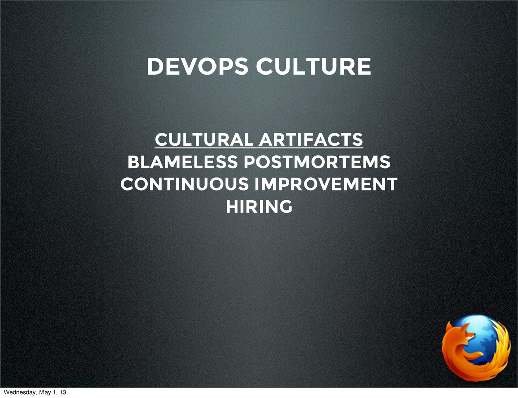 DEVOPS CULTURE CULTURAL ARTIFACTS BLAMELESS POS...