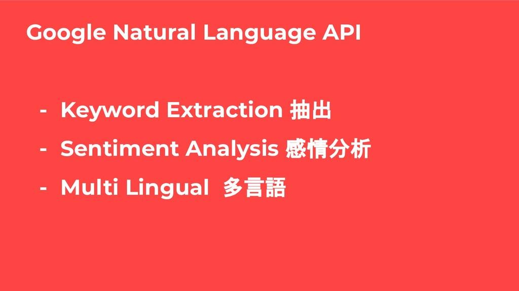 - Keyword Extraction 抽出 - Sentiment Analysis 感情...