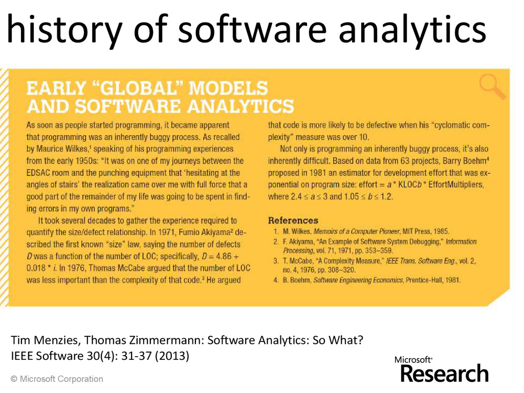 © Microsoft Corporation history of software ana...