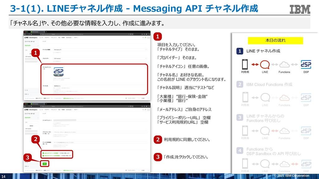 14 © 2021 IBM Corporation 「チャネル名」や、その他必要な情報を⼊⼒し...