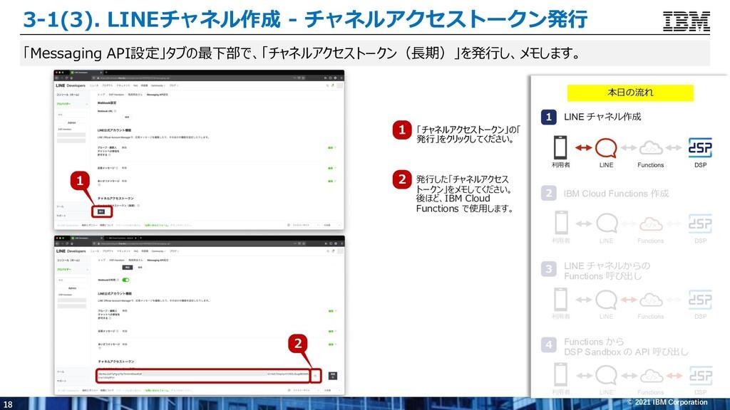 18 © 2021 IBM Corporation 「Messaging API設定」タブの最...