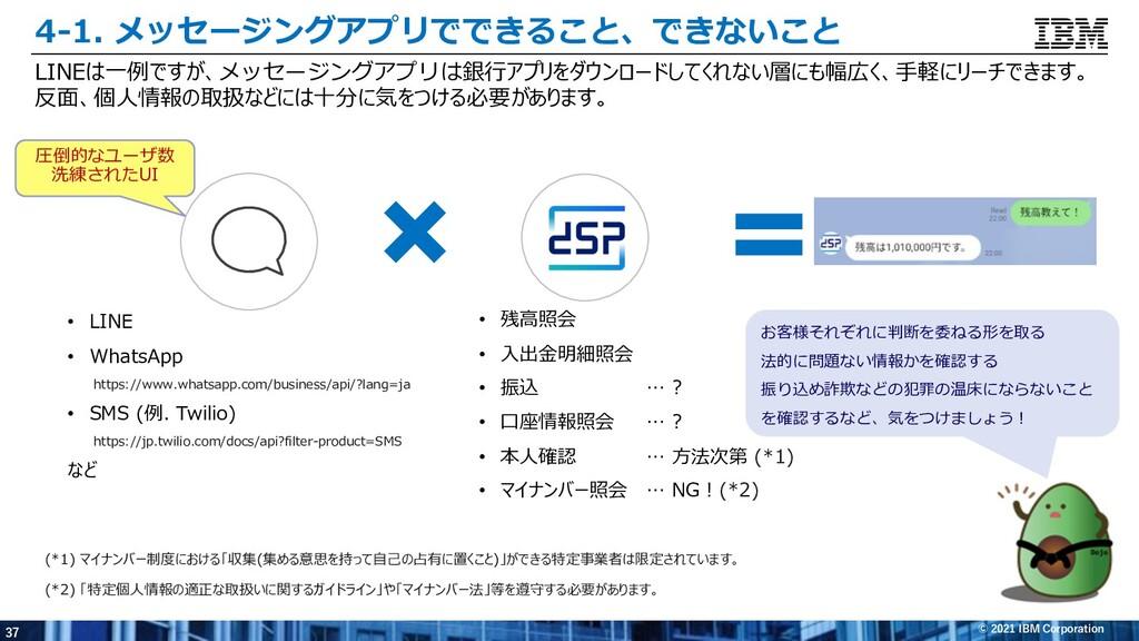 37 © 2021 IBM Corporation 4-1. メッセージングアプリでできること...
