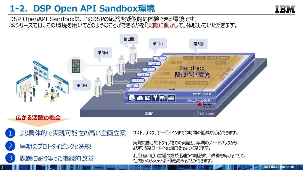 4 © 2021 IBM Corporation 1-2.DSP Open API Sandb...
