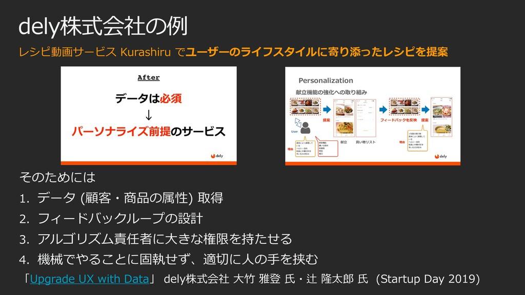 dely株式会社の例 レシピ動画サービス Kurashiru でユーザーのライフスタイルに寄り...