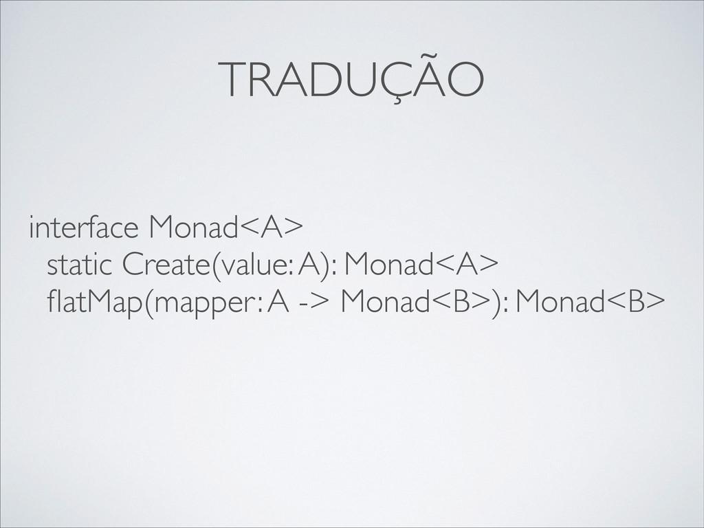TRADUÇÃO interface Monad<A>  static Create(va...