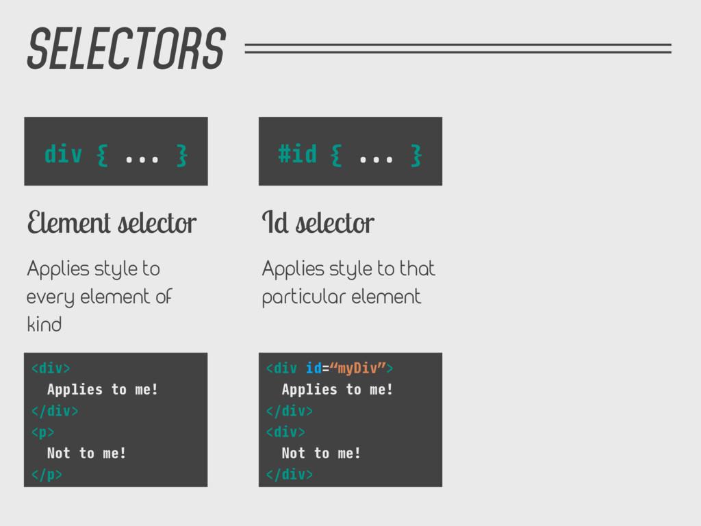 SELECTORS #id { ... } Id selector Applies style...