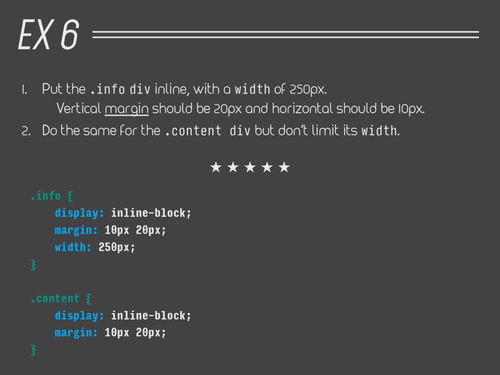 1. Put the .info div inline, with a width of 25...