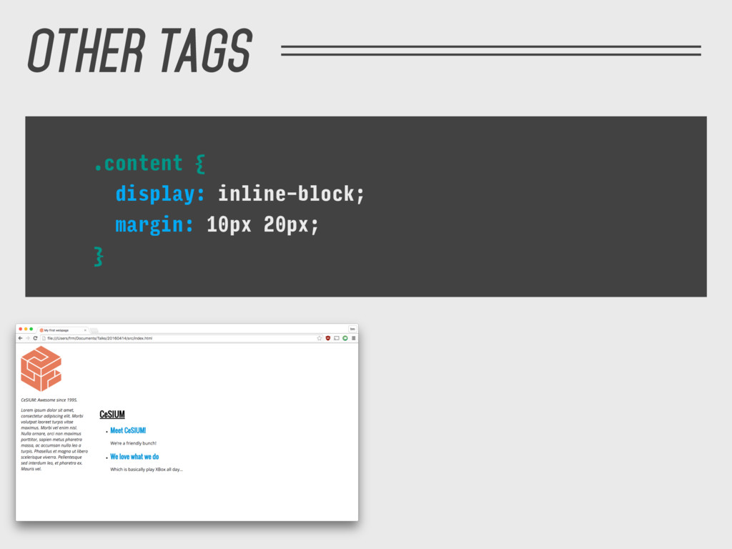OTHER TAGS .content { display: inline-block; ma...