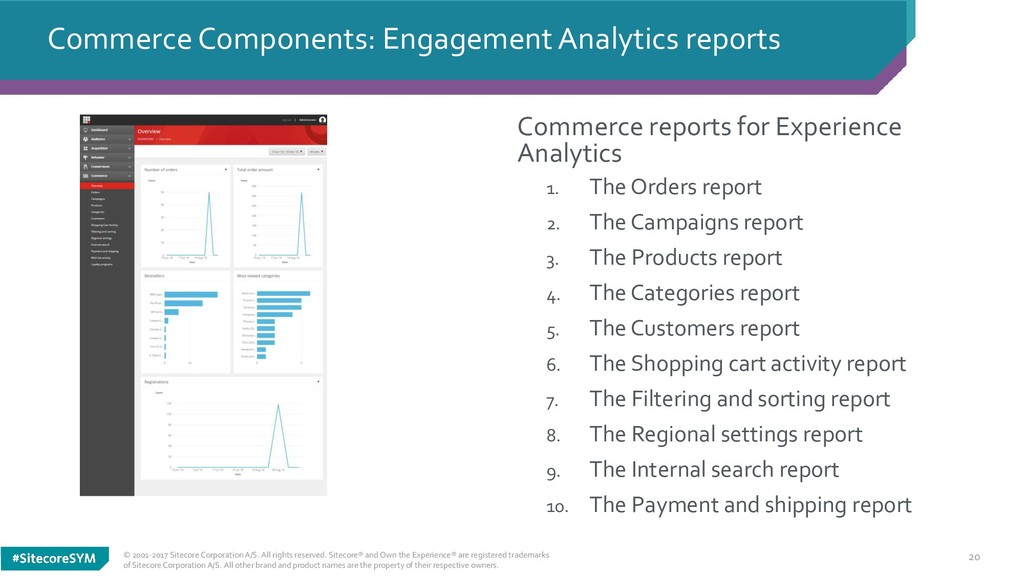 20 Commerce reports for Experience Analytics 1....