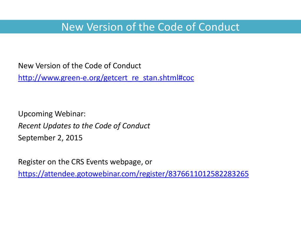 New Version of the Code of Conduct New Version ...