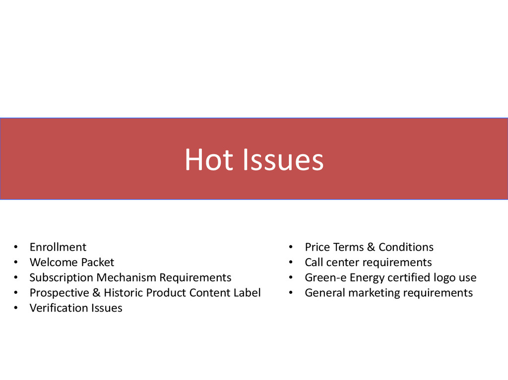 Hot Issues • Enrollment • Welcome Packet • Subs...