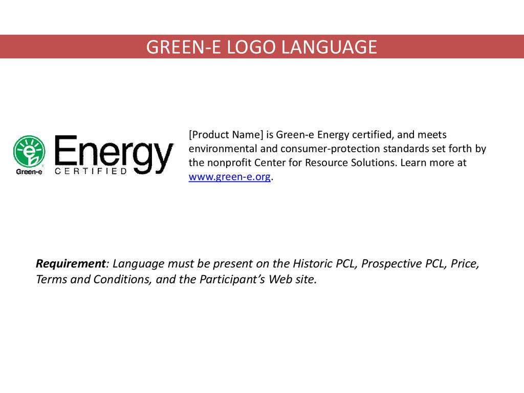 GREEN-E LOGO LANGUAGE [Product Name] is Green-e...