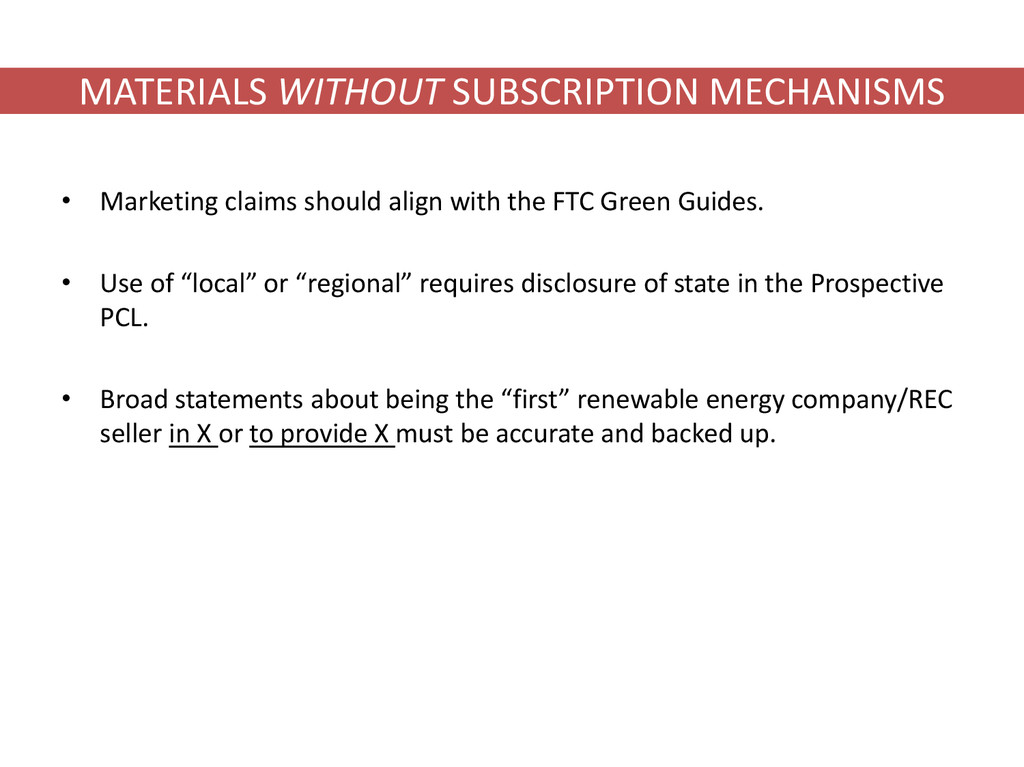 MATERIALS WITHOUT SUBSCRIPTION MECHANISMS • Mar...