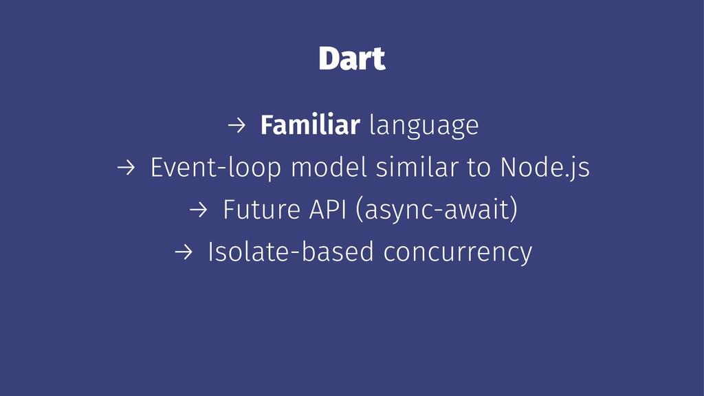 Dart → Familiar language → Event-loop model sim...