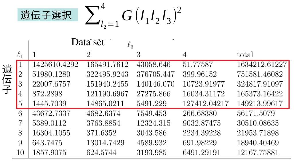 遺 伝 子 Data set ∑ l 2 =1 4 G (l 1 l 2 l 3 )2 遺伝子...