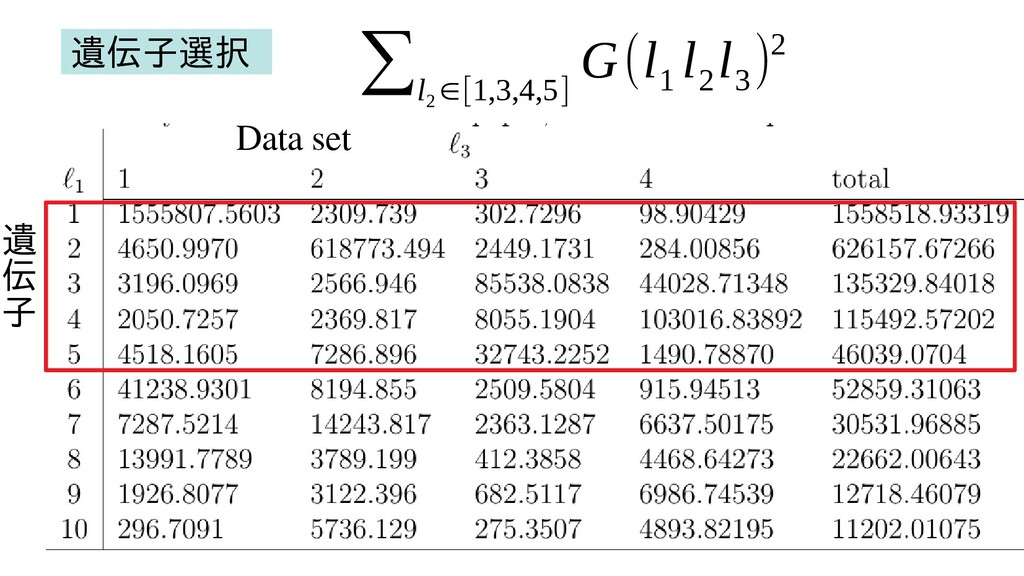 遺 伝 子 Data set ∑l 2 ∈[1,3,4,5] G(l 1 l 2 l 3 )2...