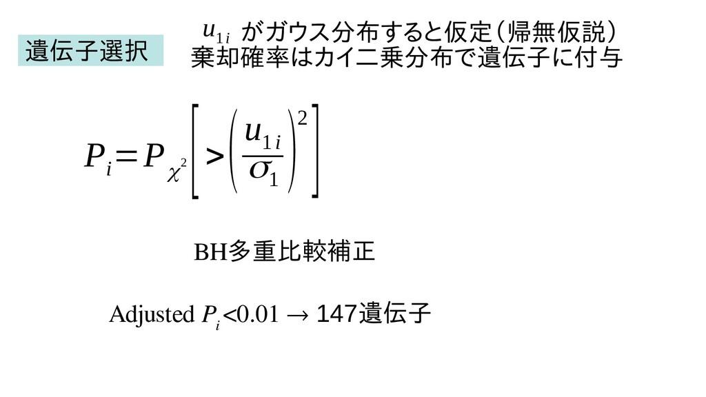 P i =P χ2 [> (u 1i σ1 )2] BH多重比較したい(例えば補正 Adjus...