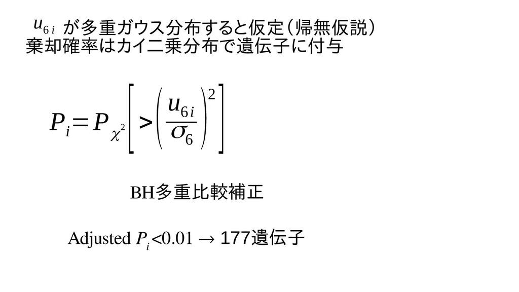 P i =P χ2 [> (u 6i σ6 )2] BH多重比較したい(例えば補正 Adjus...