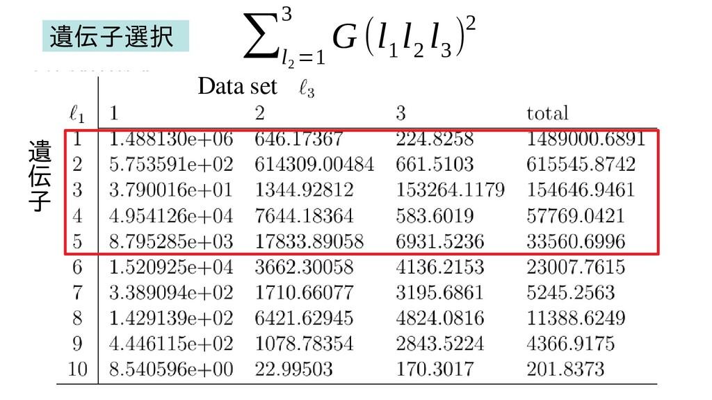 遺 伝 子 Data set ∑ l 2 =1 3 G (l 1 l 2 l 3 )2 遺伝子...