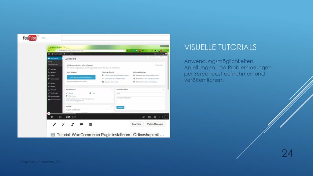 VISUELLE TUTORIALS Anwendungsmöglichkeiten, Anl...