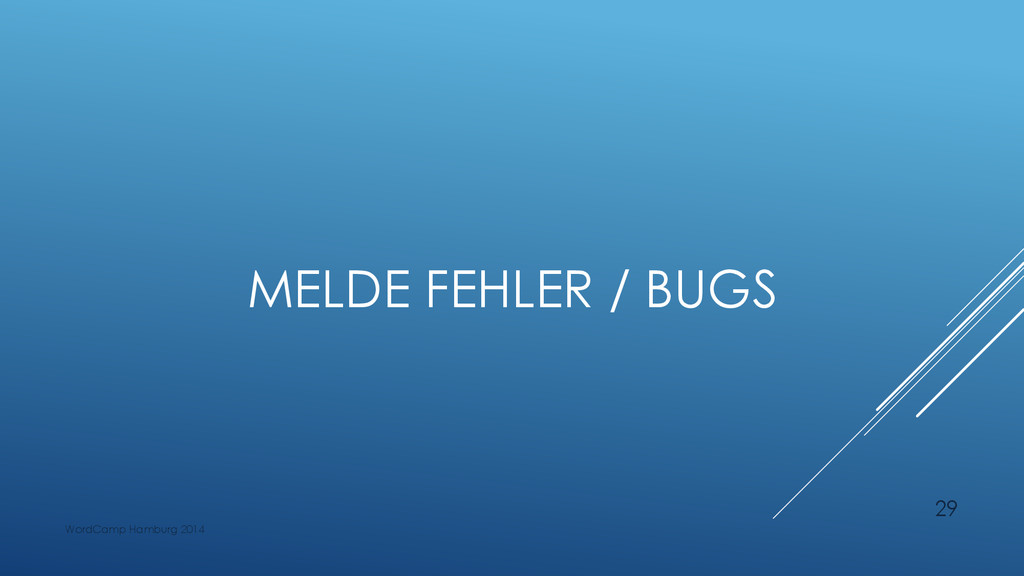 MELDE FEHLER / BUGS WordCamp Hamburg 2014 29