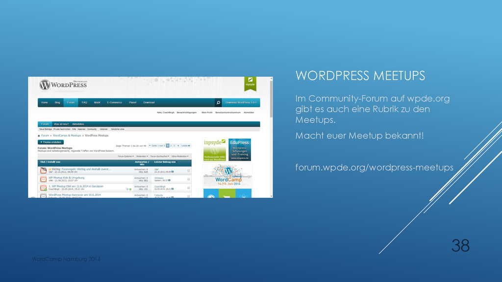 WORDPRESS MEETUPS Im Community-Forum auf wpde.o...