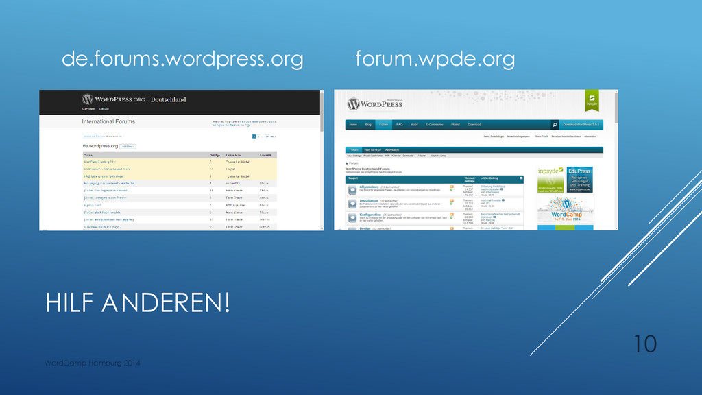 HILF ANDEREN! de.forums.wordpress.org forum.wpd...