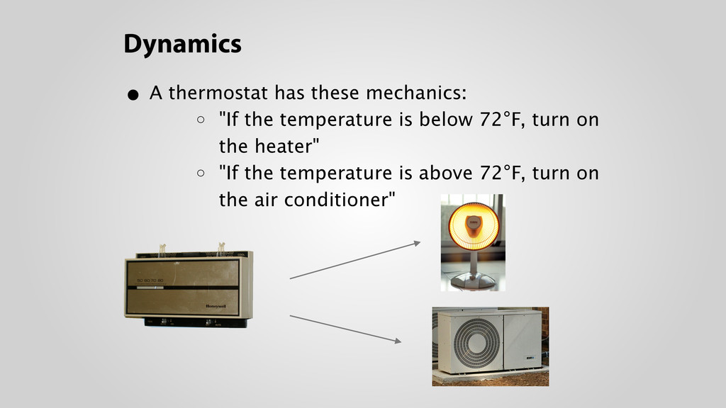 Dynamics • A thermostat has these mechanics: o...