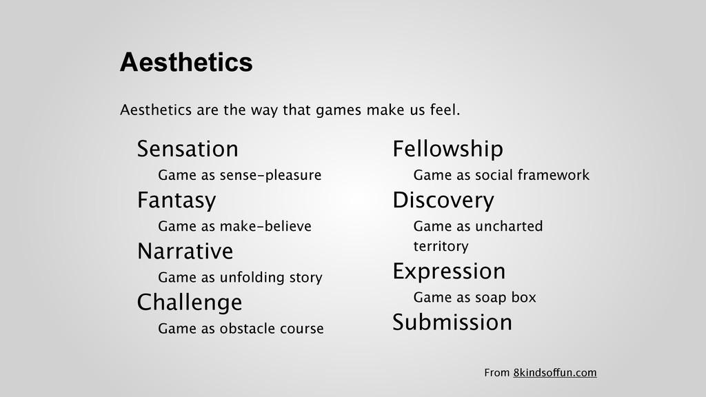Aesthetics Sensation Game as sense-pleasure F...