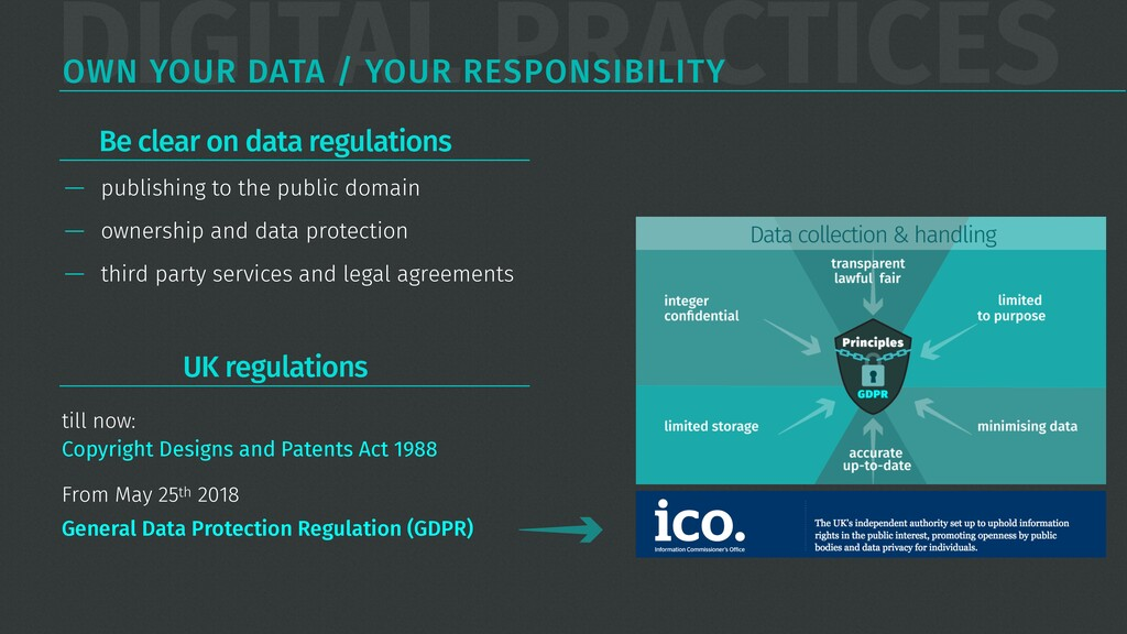 DIGITAL PRACTICES OWN YOUR DATA / YOUR RESPONSI...