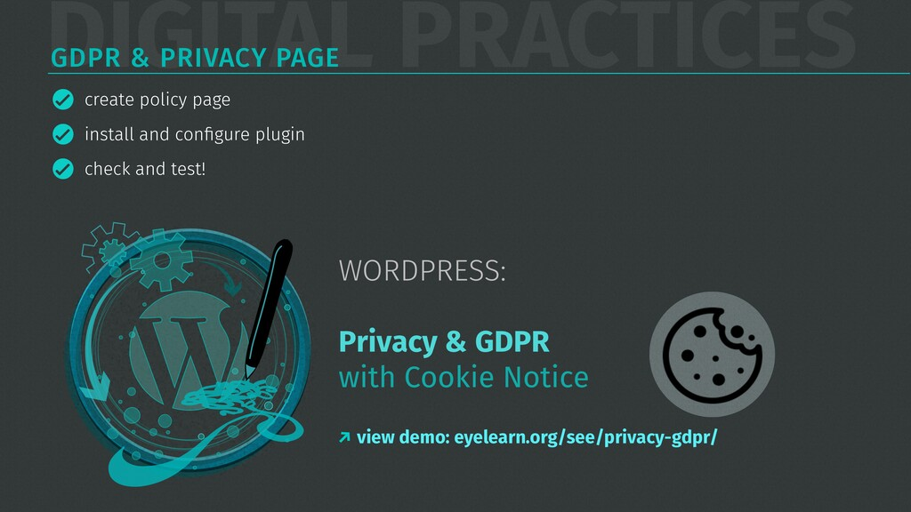 DIGITAL PRACTICES GDPR & PRIVACY PAGE create po...