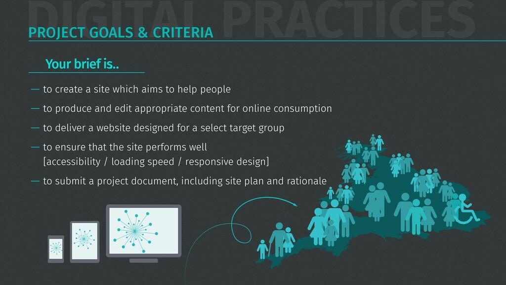 DIGITAL PRACTICES PROJECT GOALS & CRITERIA — to...