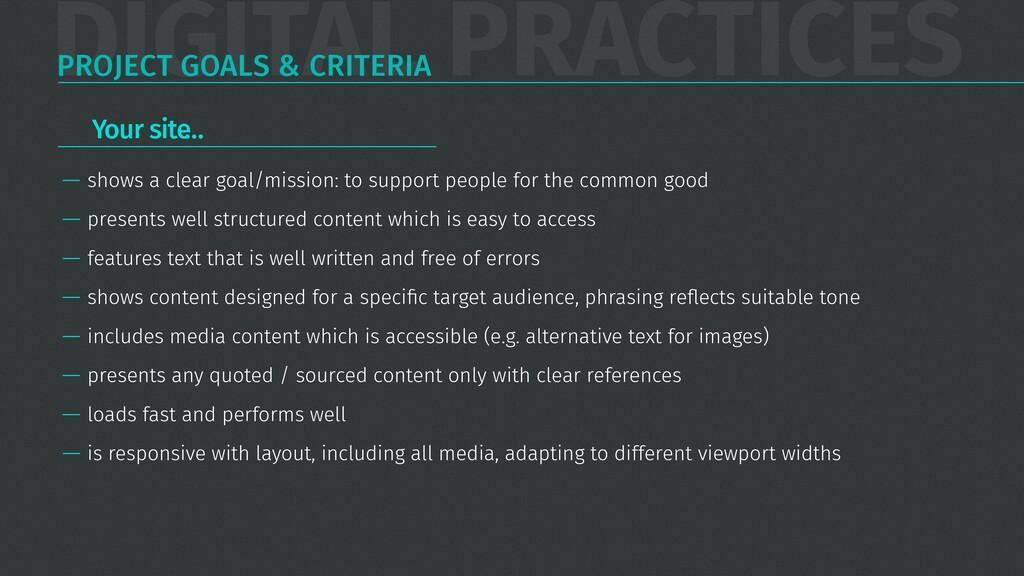 DIGITAL PRACTICES PROJECT GOALS & CRITERIA — sh...