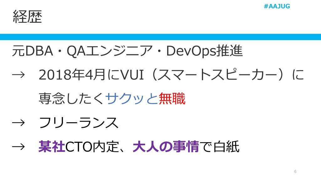 経歴 6 元DBA・QAエンジニア・DevOps推進 → 2018年4月にVUI(スマートスピ...