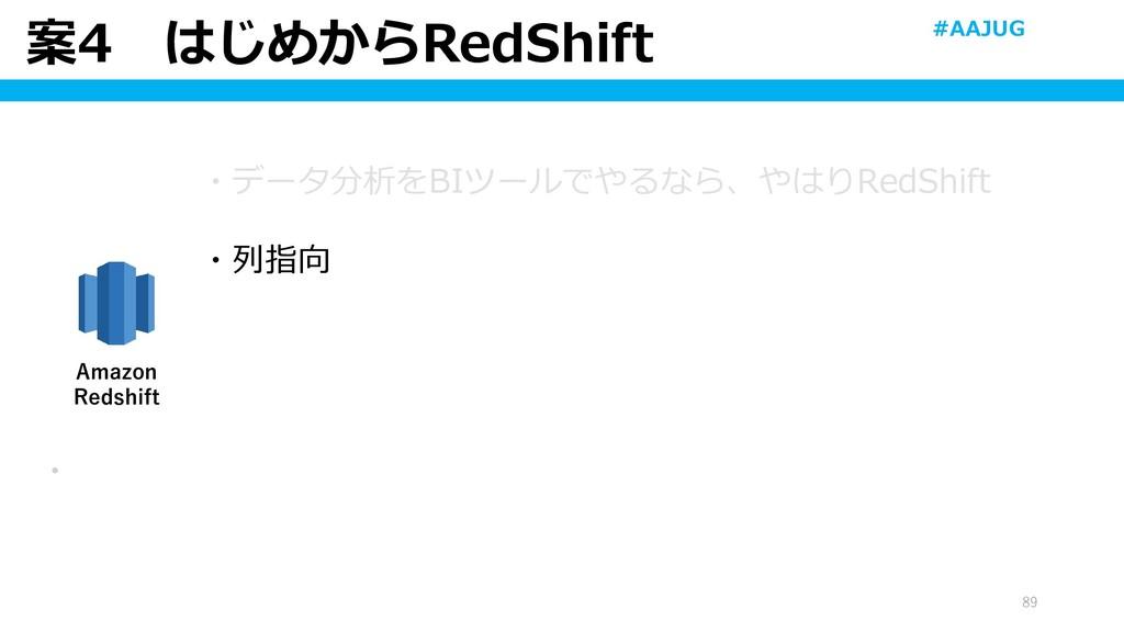 案4 はじめからRedShift 89 ・ Amazon Redshift ・データ分析をBI...