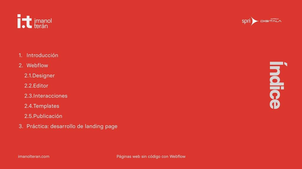 imanolteran.com Índice Páginas web sin código c...