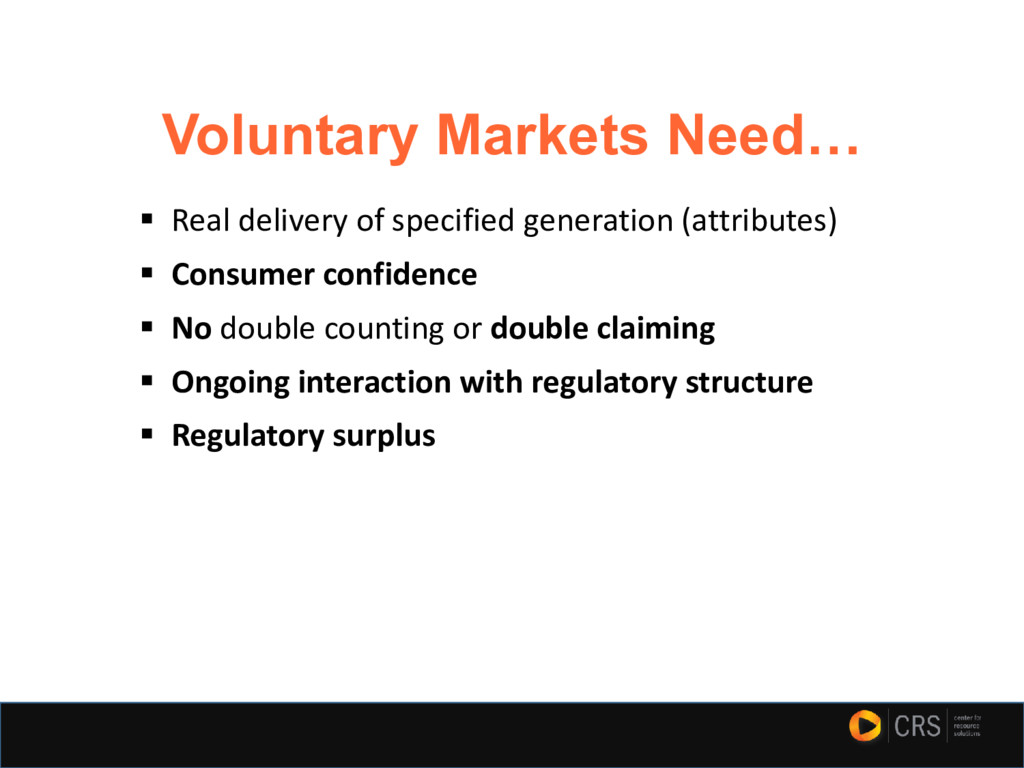Voluntary Markets Need… ▪ Real delivery of spec...