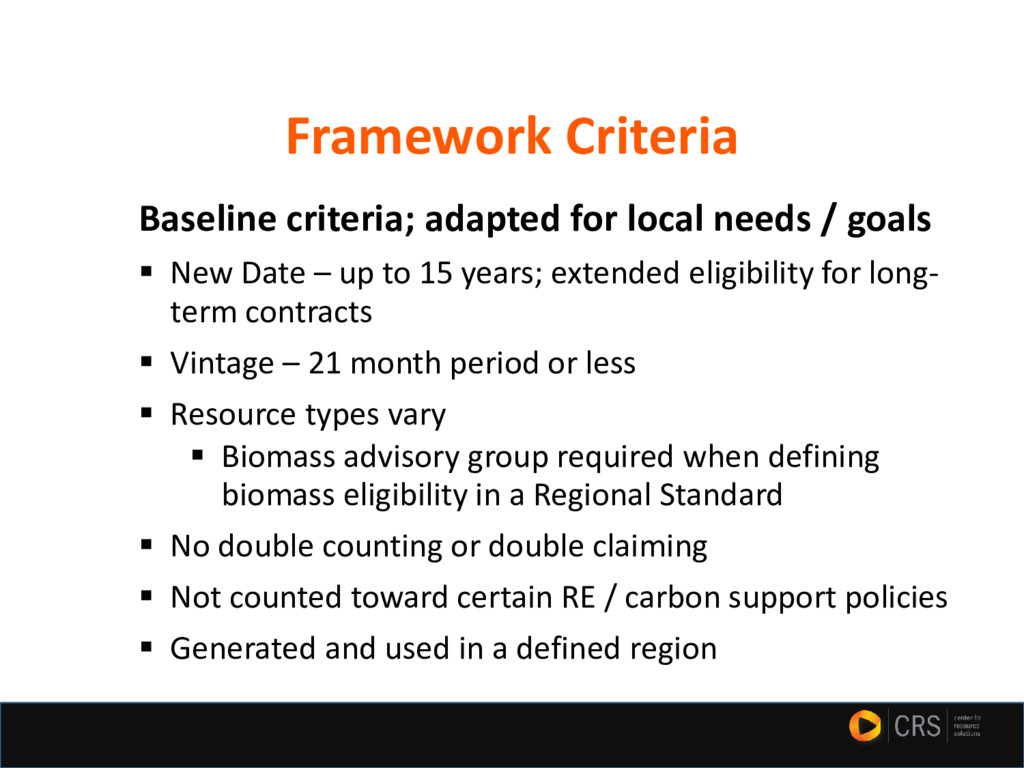 Baseline criteria; adapted for local needs / go...