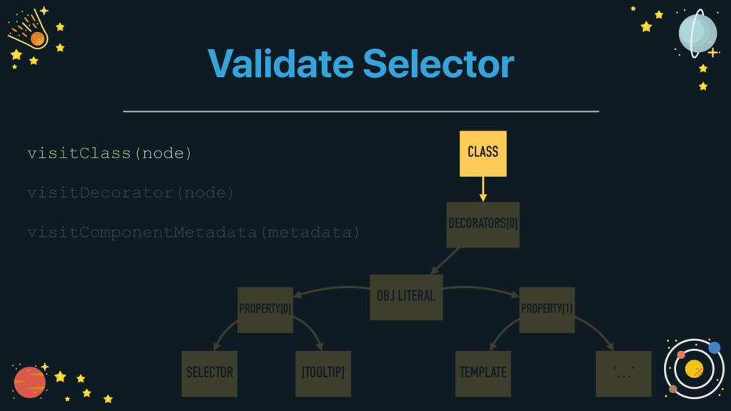 Validate Selector visitClass(node) visitDecorat...