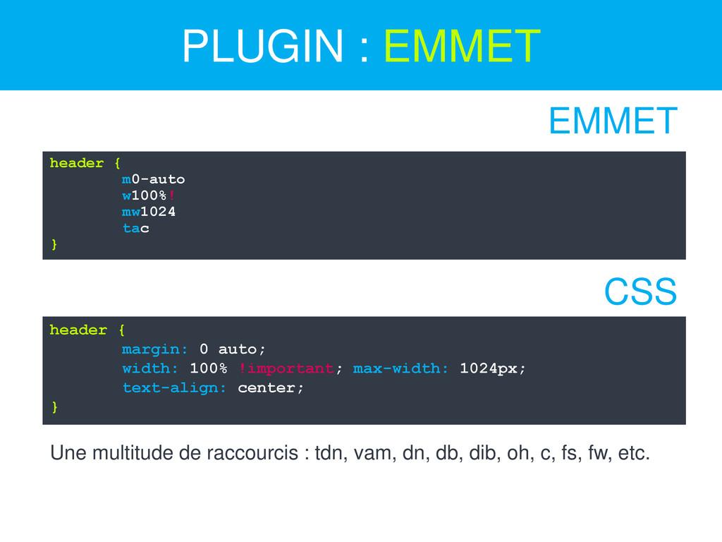 PLUGIN : EMMET header { m0-auto w100%! mw1024 t...