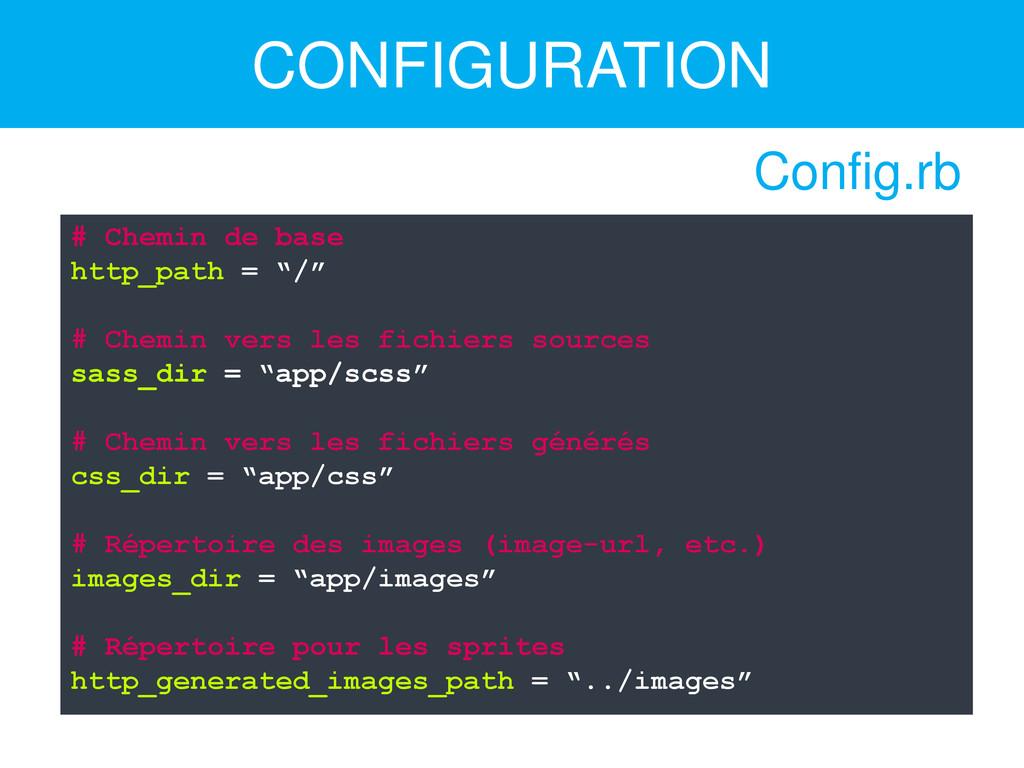 """CONFIGURATION # Chemin de base http_path = """"/"""" ..."""
