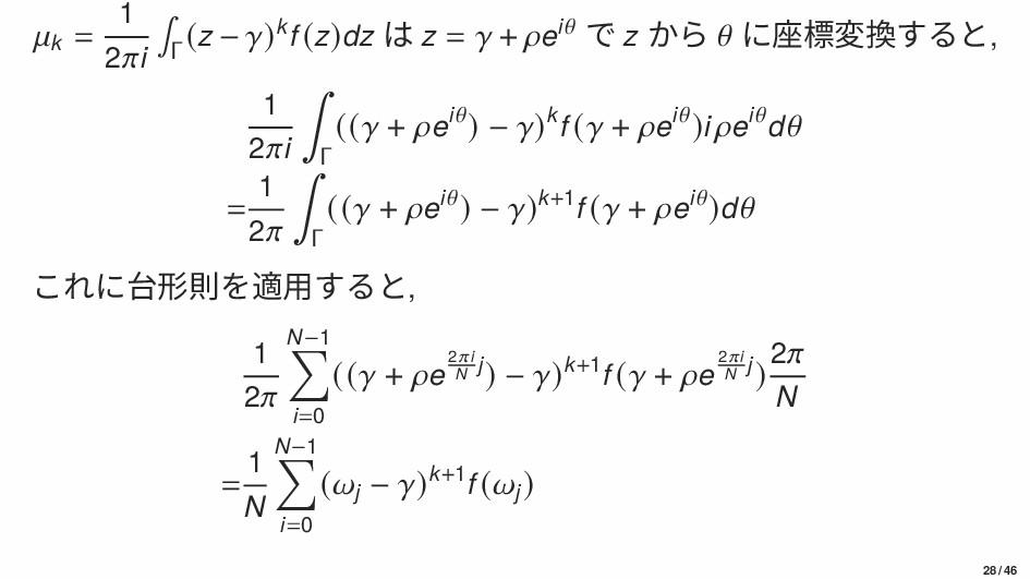 k = 1 2i ∫ Γ (z − )kf (z)dz は z =  + ei で z から ...