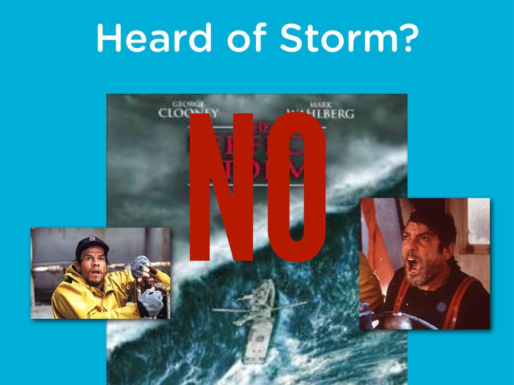 Heard of Storm? NO