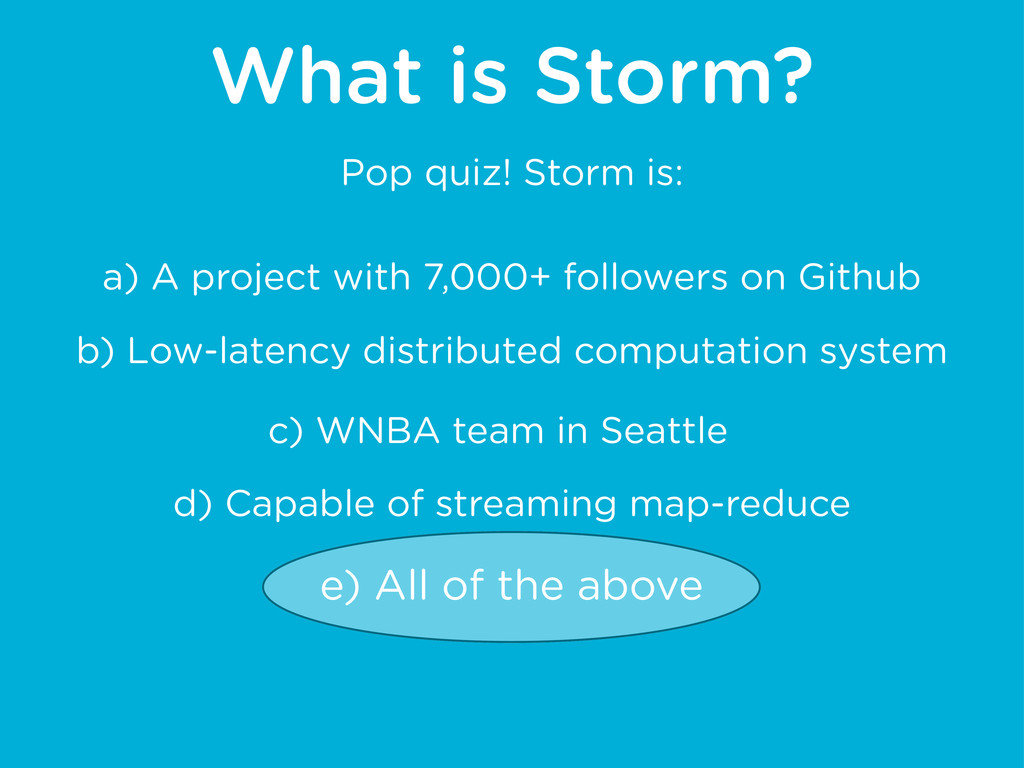 What is Storm? a) A project with 7,000+ followe...