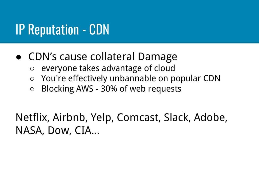 IP Reputation - CDN ● CDN's cause collateral Da...