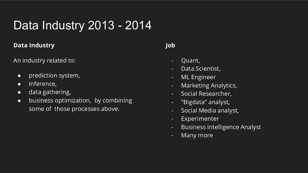 Data Industry An industry related to: ● predict...